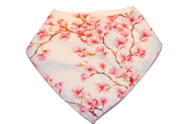 Light Pink Bandana Bib with Pink Flowers on a Branch 1
