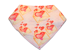 Light Pink Bandana Bib with Love Letters