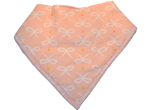 Light Pink Bandana Bib with White Bows - Dream Lily Designs