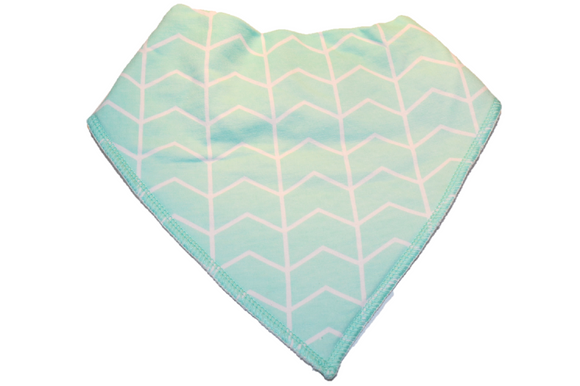 Mint Bandana Bib with White Aztec Stripes 1