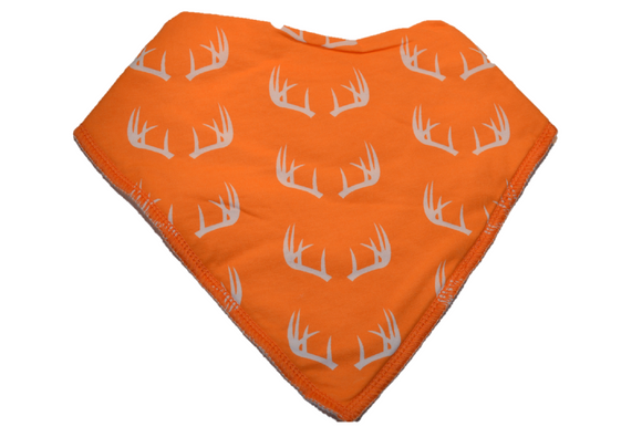 Orange Bandana Bib with White Antlers