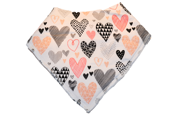 White Bandana Bib with Pink, Black, and Grey Patterned Hearts 1