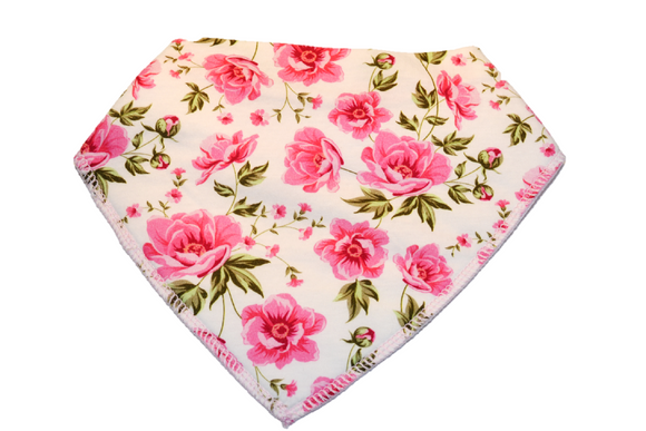 Pink Bandana Bib with Large Pink Flowers 1