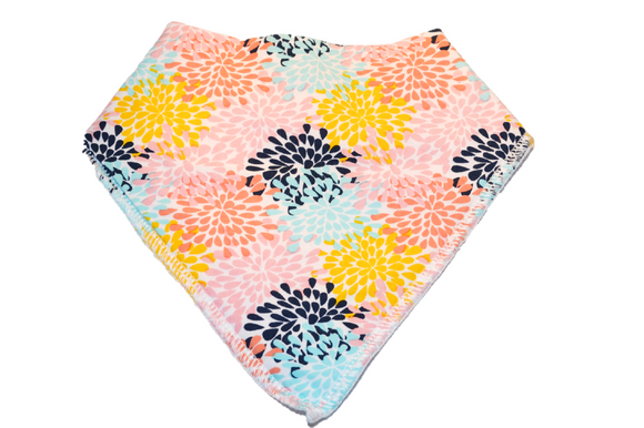 White Bandana Bib with Pink, Orange, and Blue Flowers 1