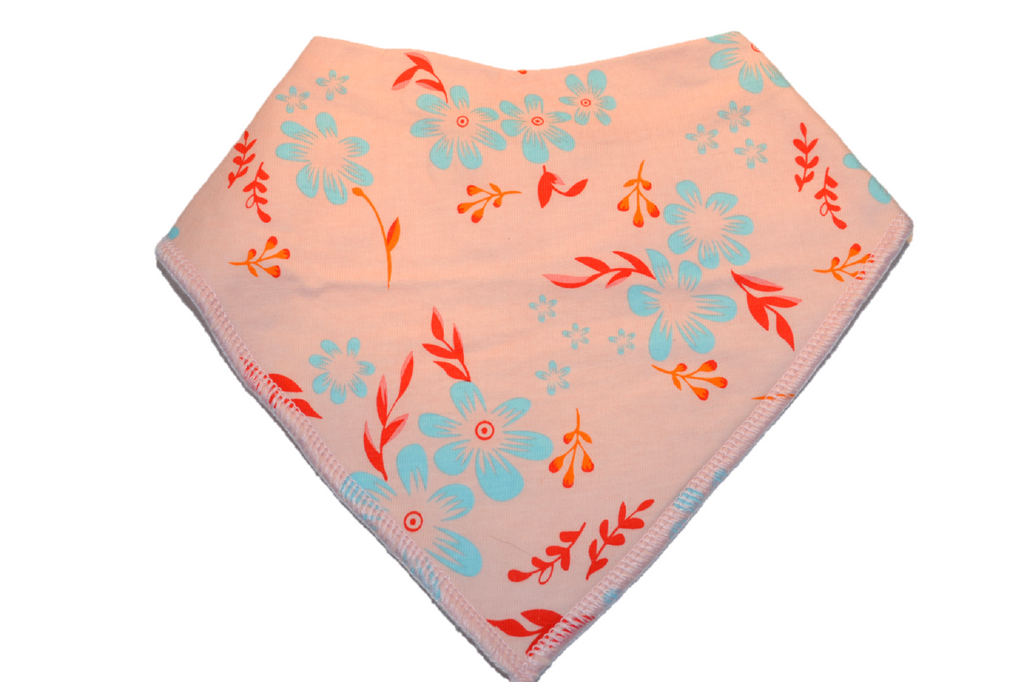 Pink Bandana Bib with Blue Flowers and Red Stems 1