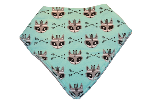 Turquoise Bandana Bib with Black Arrows and Raccoons