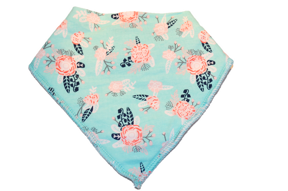 Turquoise Bandana Bib with Pink Flowers and Black Stems and Leaves