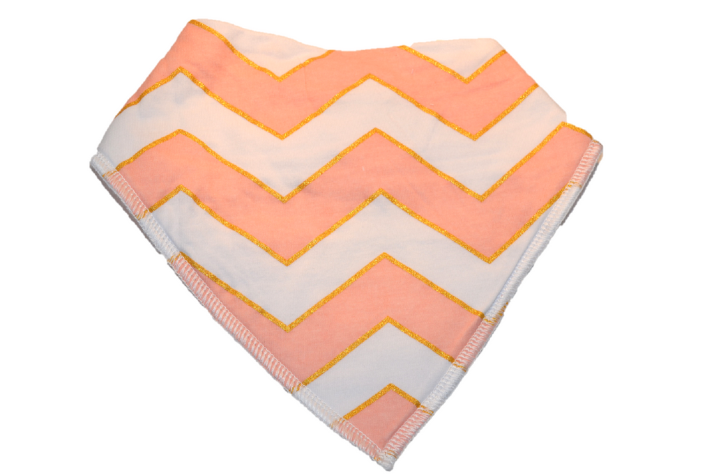 White Bandana Bib with Pink and Gold Chevron 1