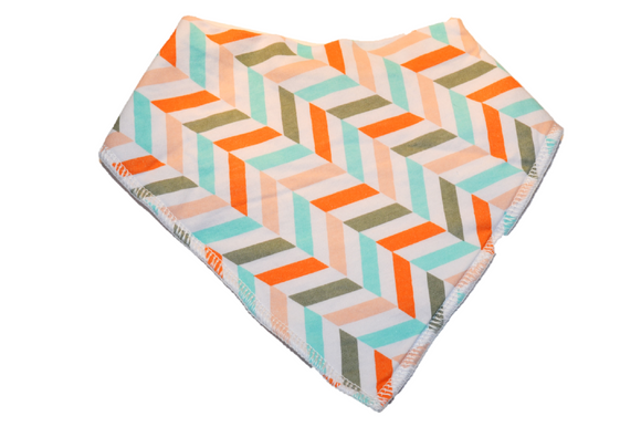 White Bandana Bib with Pink, Blue, Orange, and Grey Herring Stripes 1