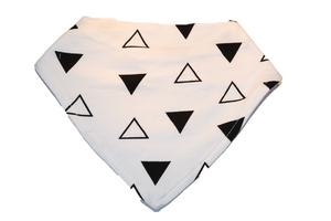 White Bandana Bib with Black Triangles - Dream Lily Designs