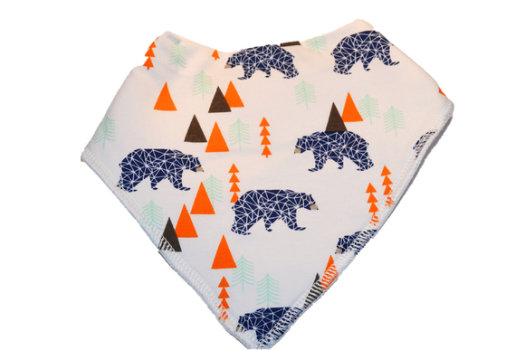 White Bandana Bib with Blue Bears and Orange Trees - Dream Lily Designs