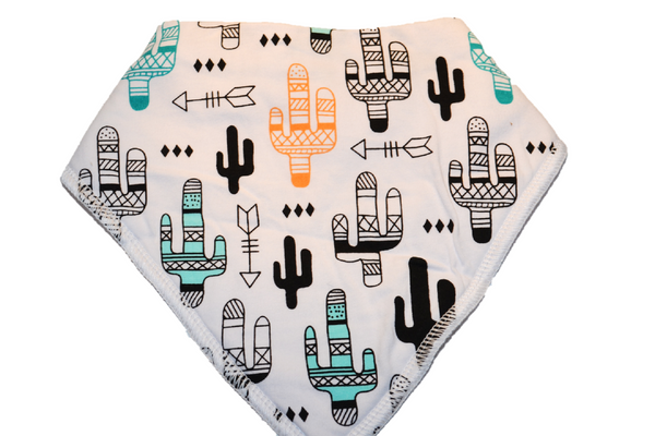 White Bandana Bib with Blue, Black, and Orange Cactus and Arrows 1