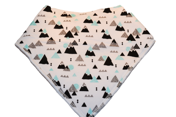 White Bandana Bib with Black, Grey, and Blue Mountains - Dream Lily Designs