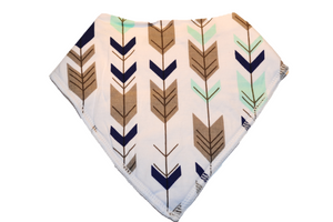 White Bandana Bib with Black, Grey, and Blue Arrows - Dream Lily Designs