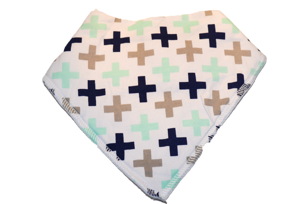 White Bandana Bib with Black, Brown, and Blue Crosses 1