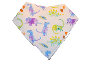 White Bandana Bib with Colorful Dinosaurs - Dream Lily Designs