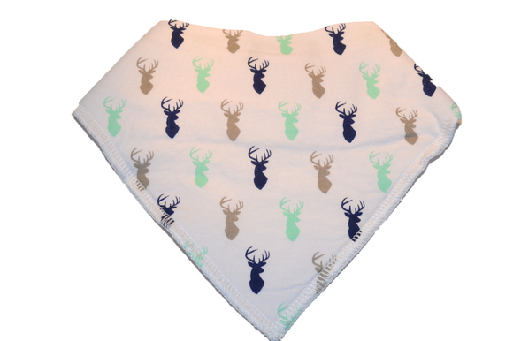 White Bandana Bib with Blue, Green, and Brown Deer - Dream Lily Designs