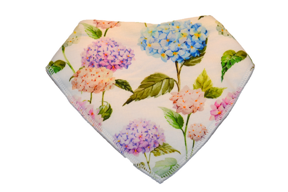 White Bandana Bib with Large Flowers and Stems 1