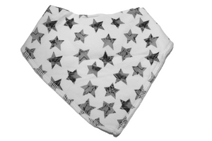 White Bandana Bib with Grey Stars 1