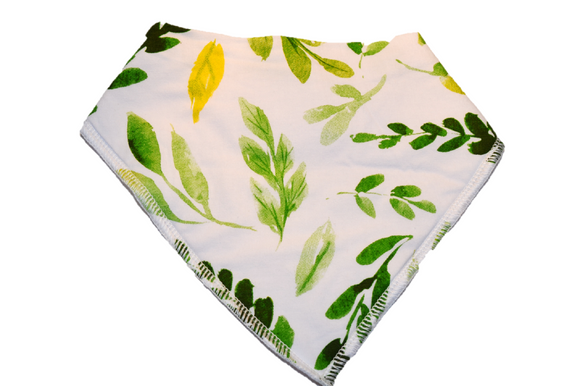 White Bandana Bib with Green and Yellow Leaves 1