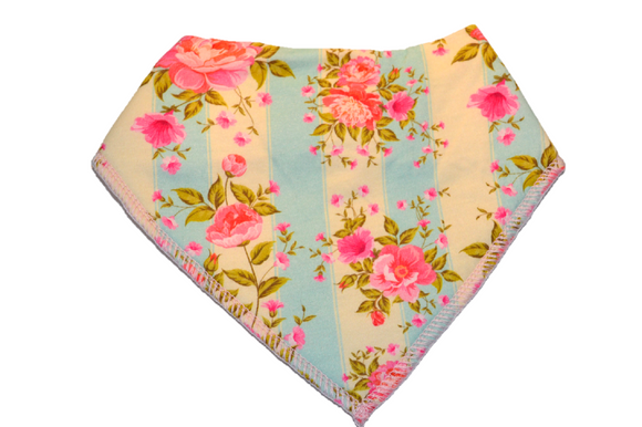 Yellow and Blue Striped Bandana Bib with Pink Flowers 1