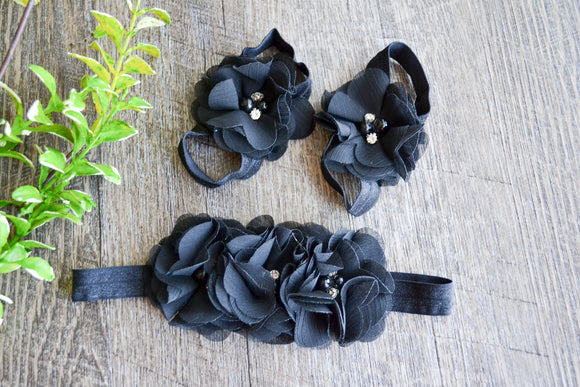Black Chiffon Flower Baby Barefoot Sandals and Headband - Dream Lily Designs