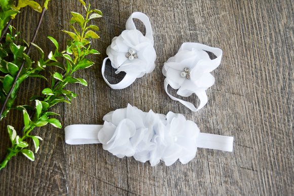 White Chiffon Flower Baby Barefoot Sandals and Headband - Dream Lily Designs