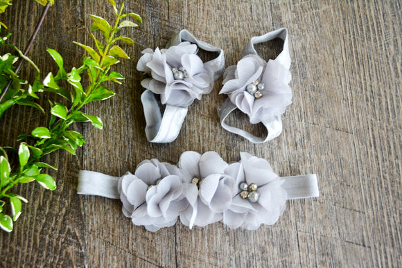 Grey Chiffon Flower Baby Barefoot Sandals and Headband - Dream Lily Designs