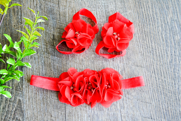 Red Chiffon Flower Baby Barefoot Sandals and Headband - Dream Lily Designs