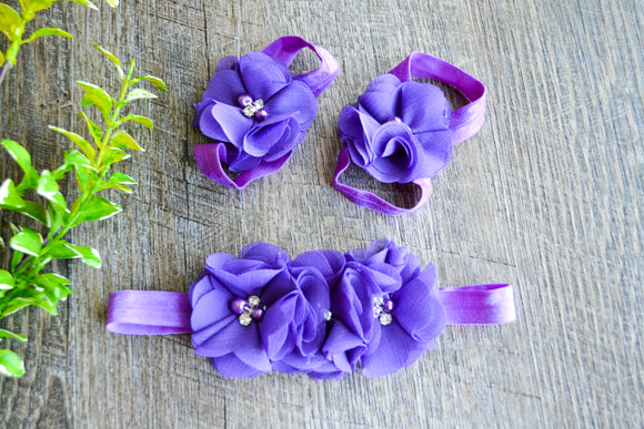 Purple Chiffon Flower Baby Barefoot Sandals and Headband - Dream Lily Designs