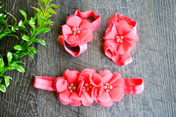 Coral Chiffon Flower Baby Barefoot Sandals and Headband - Dream Lily Designs