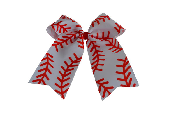White Baseball Pattern Ribbon Cheer Bow Clip - Dream Lily Designs