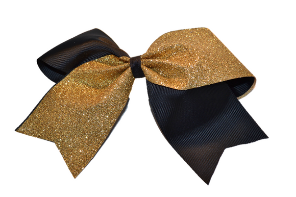 Black and Gold Sparkle Cheer Bow - Dream Lily Designs