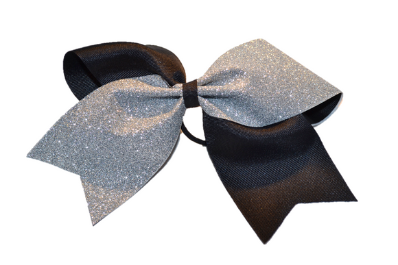 Black and Silver Sparkle Cheer Bow