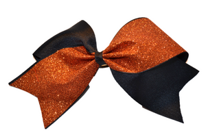 Black and Orange Sparkle Cheer Bow