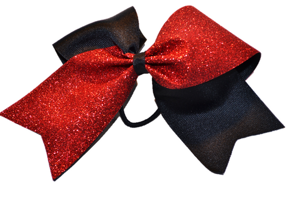 Black and Red Sparkle Cheer Bow