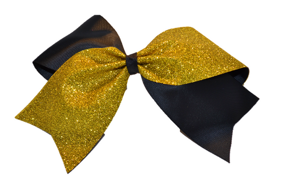 Black and Yellow Gold Sparkle Cheer Bow - Dream Lily Designs