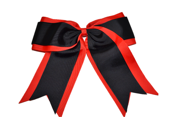 Red and Black Double Ribbon Cheer Bow - Dream Lily Designs
