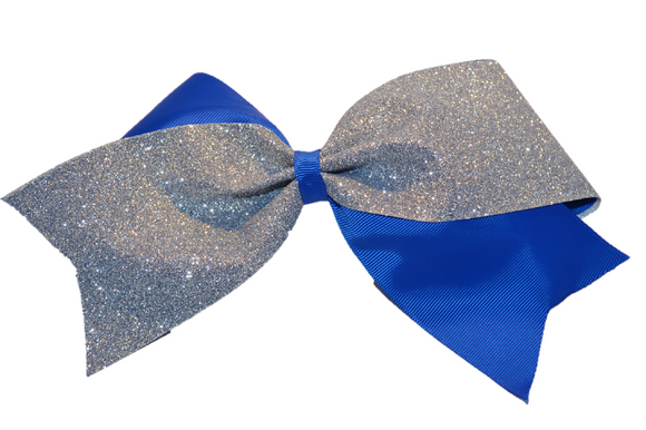 Blue and Silver Sparkle Cheer Bow - Dream Lily Designs