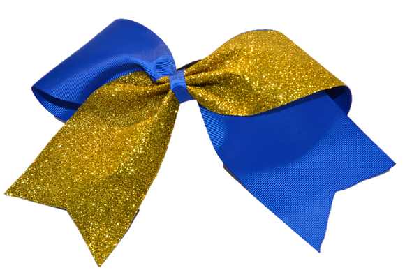 Blue and Yellow Gold Sparkle Cheer Bow