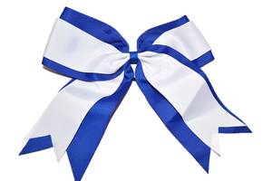 Blue and White Double Ribbon Cheer Bow