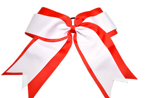 Light Red and White Double Ribbon Cheer Bow - Dream Lily Designs