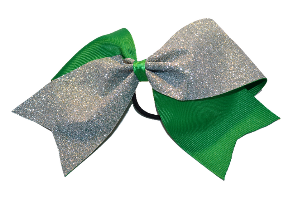 Green and Silver Sparkle Cheer Bow