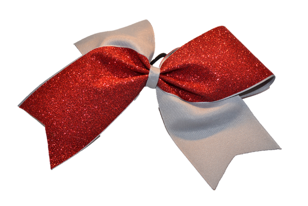 Grey and Red Sparkle Cheer Bow