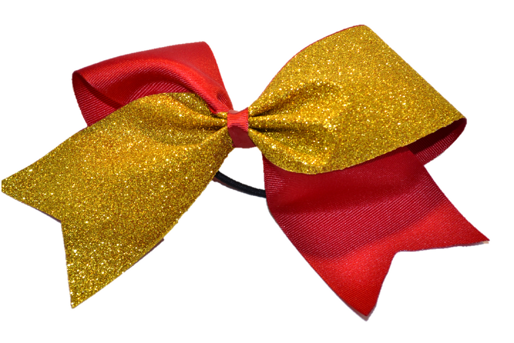 Maroon and Yellow Gold Sparkle Cheer Bow