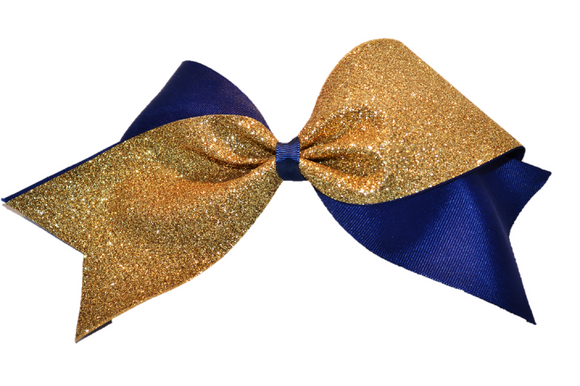 Navy and Gold Sparkle Cheer Bow - Dream Lily Designs