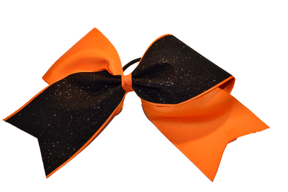 Orange and Black Sparkle Cheer Bow