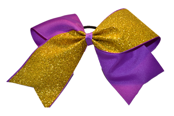 Purple and Yellow Gold Sparkle Cheer Bow - Dream Lily Designs