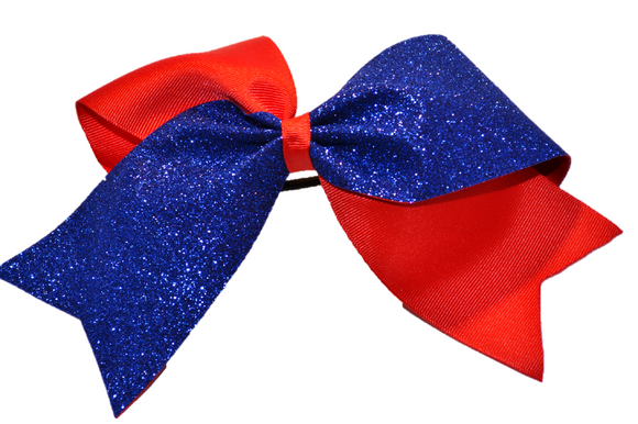 Red and Blue Sparkle Cheer Bow - Dream Lily Designs