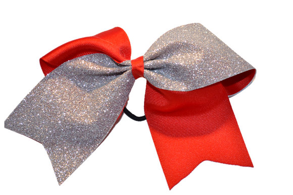 Red and Silver Sparkle Cheer Bow - Dream Lily Designs